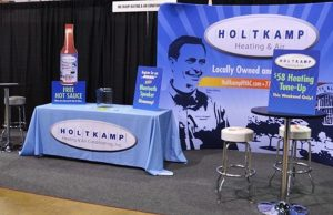 trade show table cover display